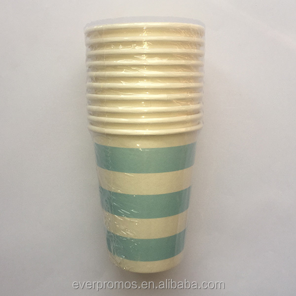 Professional Party Decoration Paper Cup Manufacturer/Light Blue Candy Stripe Paper Cups
