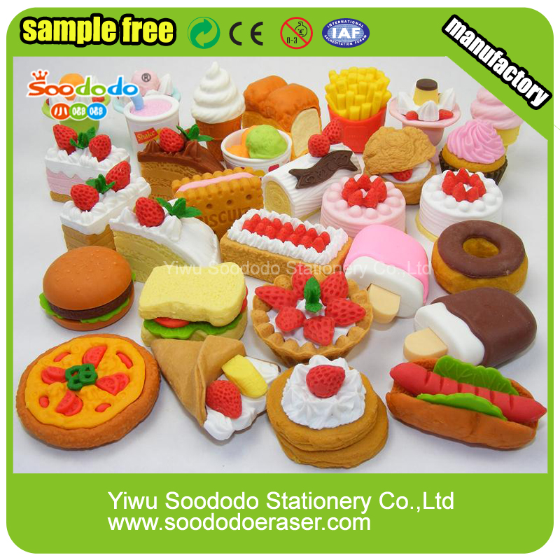 Various Styles Novelty Smudge Free Food Theme Erasers
