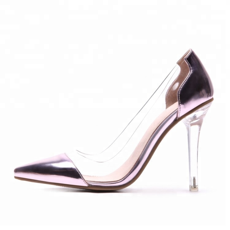 New fashion ladies clear <strong>heel</strong> and transparent Formal shoes