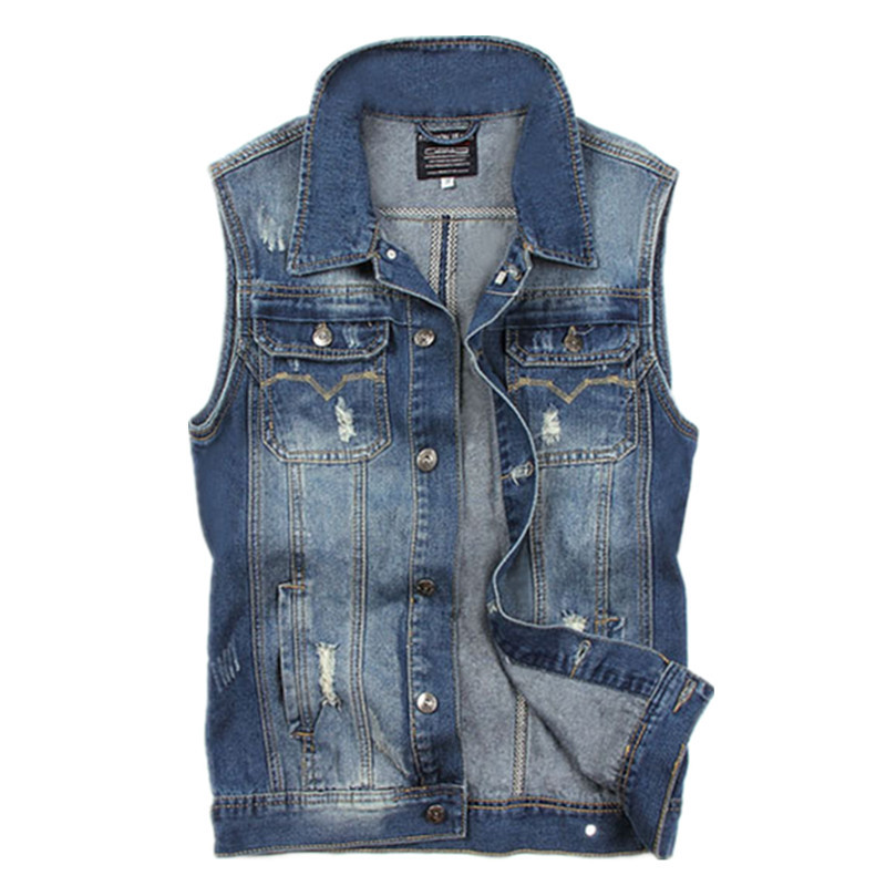 Mens Jeans Vest Denim 2015 Fashion Slim Fit Vest Jeans Hombre Blue Casual Cowboy Vest Jean Jacket For Men Plus Size Men Cloth