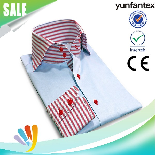 2018 China wholesale OEM & ODM service cotton long sleeve casual stripe collar and cuff shirt for men