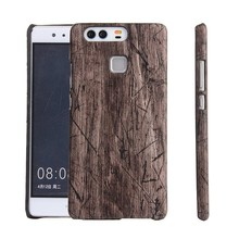Hot sale slim PC hard plastic wooden skin mobile case for Huawei P9
