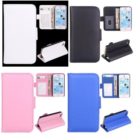 For iPhone 5/5s Slim PC+PU Leather Flip Blank Printing Wallet Case