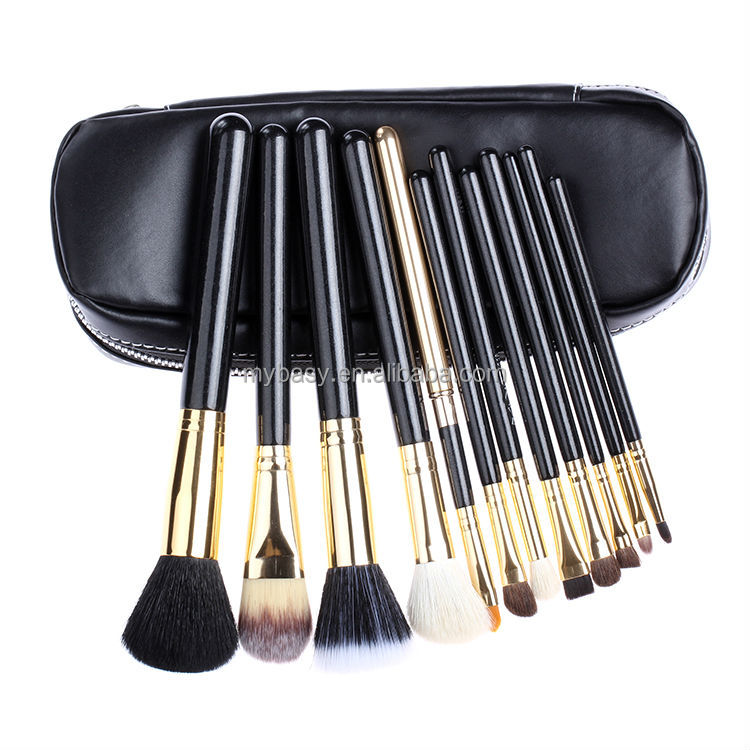 Mybasy Professional Face Makeup Brush Set with Black Zipper Leather Bag Make Up 12pcs makeup Brushes