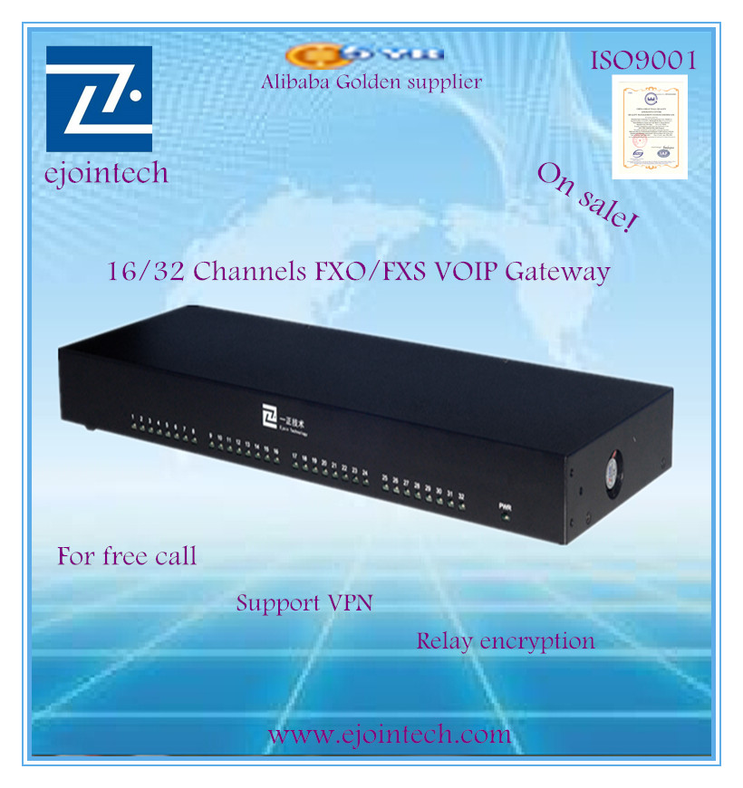 based on SIP and compatible with Asterisk 32 ports FXS/FXO VoIP gateway