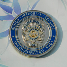 Custom silver NYPD police challenge double sided coin