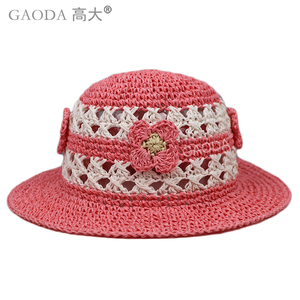 Girl's paper straw beautiful crochet hat for kids