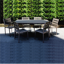 Patio Brushed Aluminium frame PVC table and chairs set for garden dining Outdoor Furniture stackable chair and table set