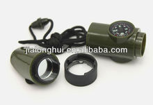 7 in 1Promotional military whistle, compass, multi-function whistle, outdoor whistle