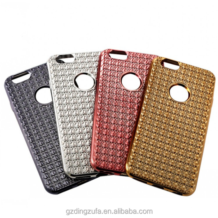 3D Diamond Glitter Bling Crystal Rhinestone Golden Electroplate Plating TPU Bumper Case Cover for iPhone 5 5se