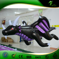 2.2m Long Giant Advertising Inflatable Black Dragon / High Quality Popular 0.4mm PVC Inflatable Flying Dragon Cartoon Characters