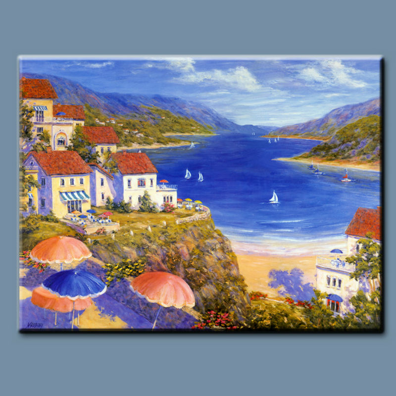 100% handmade classical mediterranean landscape painting in bright color, italian costal canvas art oil painting for sale