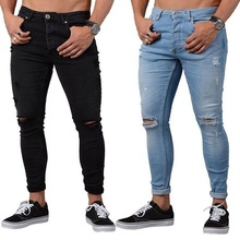 Stock new fashion men ripped distress super skinny stretch black slim fit jeans