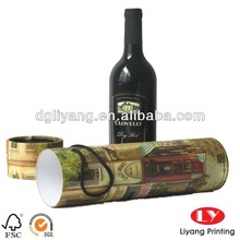 exquisite cylinder paper tube box for wine packaging with handle in full color printing with matt finish