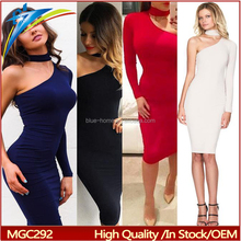 2017 Autumn Red Black White Dresses One Shoulder Halter dress Long Sleeve Women Bodycon Party Dresses