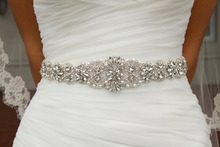 Ivory Handmade Bridal Sash Belt Wedding Applique Rhinestone Satin