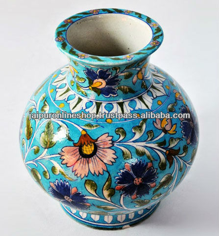 Indian Blue Pottery Flower Vasehand Painted Rich Look Blue Pottery