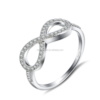 Pure 925 sterling silver infinity micro pave setting ring