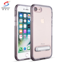 TPU PC kickstand for iphone 7 clear shockproof bumper case transparent