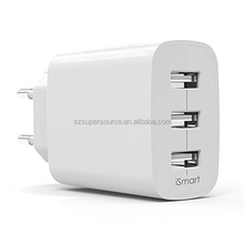 NEW OEM 4.8A 3 port portable EU plug usb travel charger adapter for iphone, samsung, nokia, lg