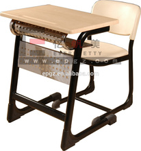 Student Furniture School Study Table Chair,Single Wooden School Desk And Chair,Modern Attached School Desks and Chairs