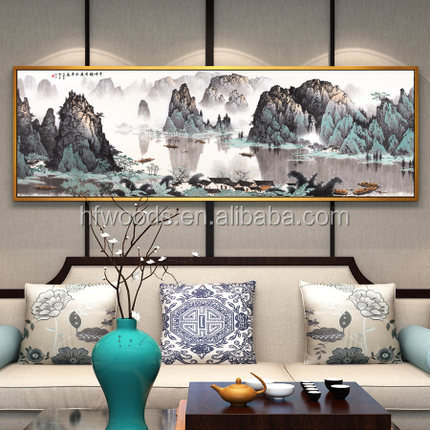 Antique Chinese Ink Painting Style Pine Wood Picture Frame for gallery