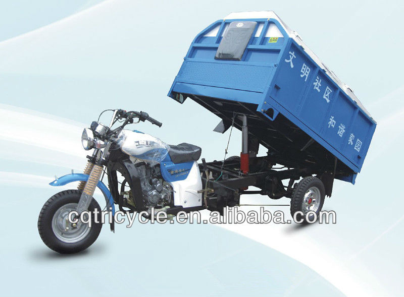 Three wheel rubbish cargo motor triclycle with hydraulic lifter