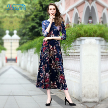 Custom printed Korean velvet dress long sleeve summer women dresses 2018