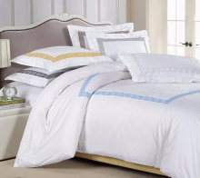 3pc Hotel Greek Key Embroidered White Gold Cotton Duvet Cover Set Queen King