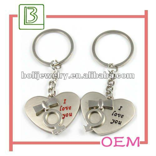I LOVE U double heart shaped couple metal keychain for valentine's day with wedding gift promotion product in Guangdong China