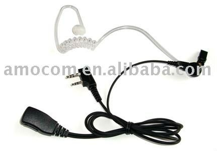 Transparent tube 2-Wire earphone for kenwood radios