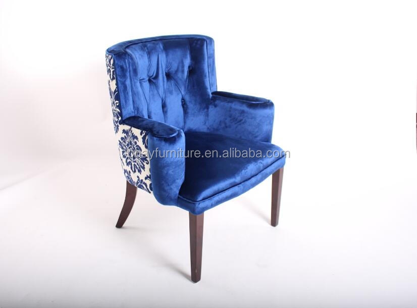 European Style Antique hotel armchairs Tubular Furniture Wood Frame Loung velvet armchair
