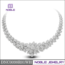 Noble luxury jewelry 18K white gold real diamond necklace