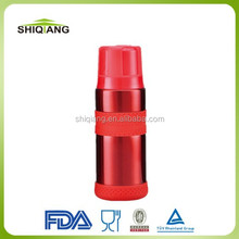 2015 latest 350ml double layer stainless steel vacuum thermos bottle with silicon band and plastic lid