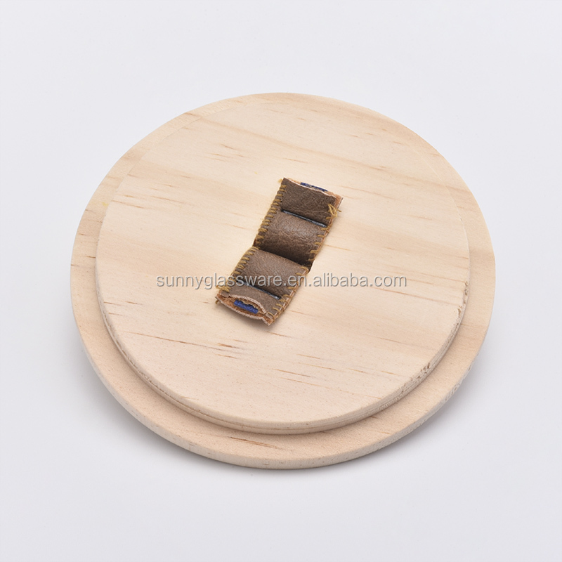 wood lid with leather handle for candle holders