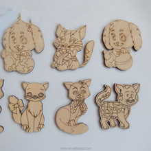 Laser cut wood shapes Cute Cats and Dogs Unfinished Cutouts for Kids Crafts and Adult Coloring