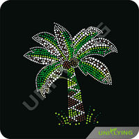 Tropical coconut tree iron on rhinestones patterns