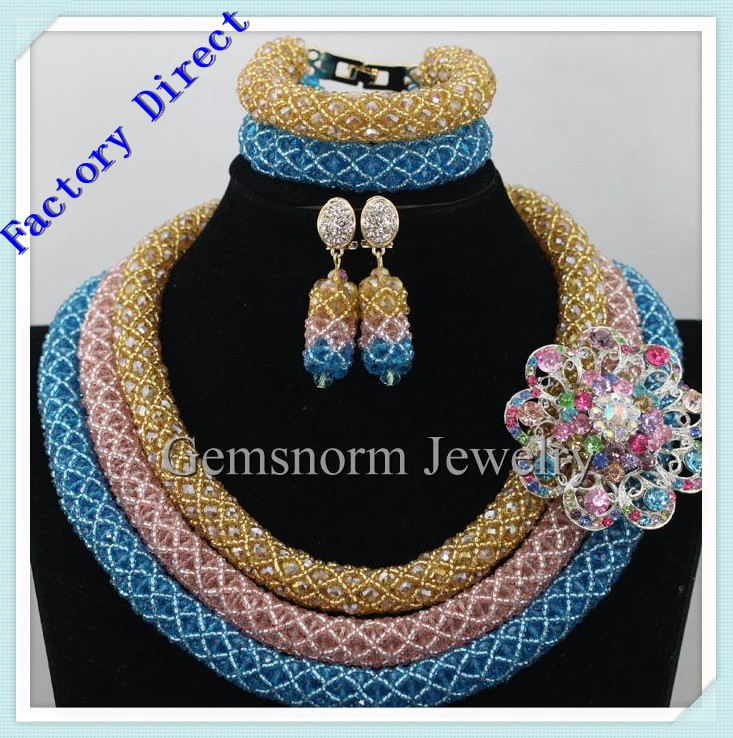 2016 Latest design African Beads Jewelry Set Nigerian Wedding Beads Necklace Earrings Dubai Gold fine jewelry Sets NEW5308