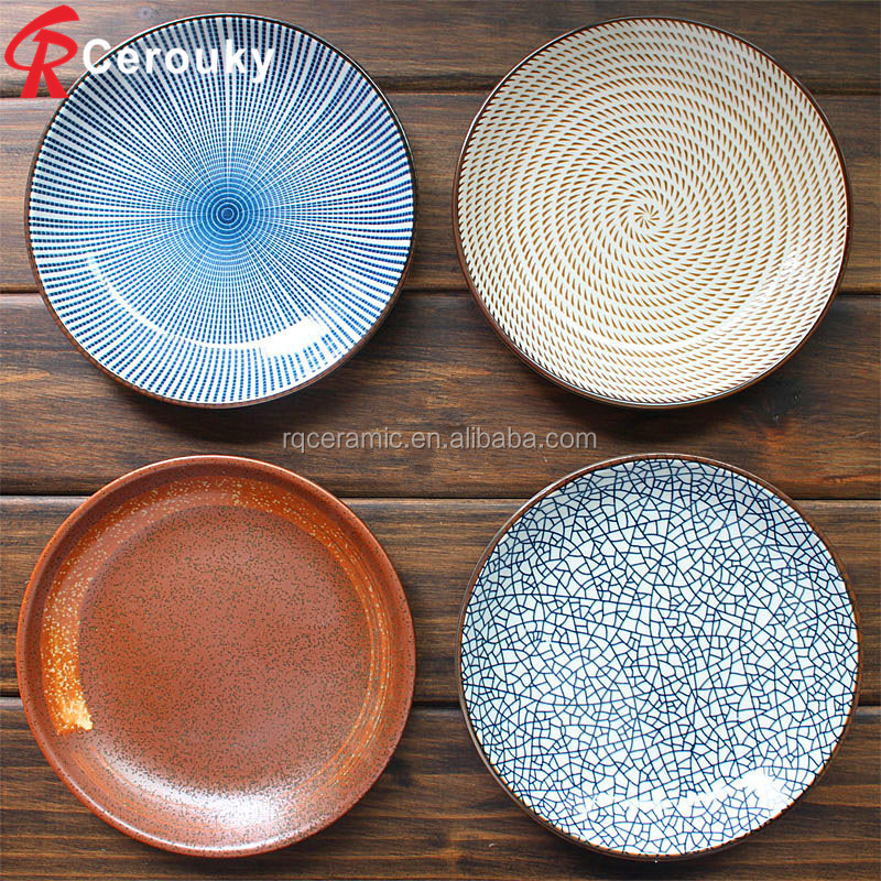 Japanese underglaze tableware ceramic plate Western-style food steak Hotel creative dish fish dishes