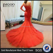 MGOO Top Selling Handmade China TraditionalWedding Dress pearl evening dress Red Long Sleeve Prom Dress 2065