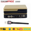 Satellite TV Receiver TocomFree S989 + AV Cable with Free IKS SKS IPTV Digital TV Box for Argentina / Colombia / South America
