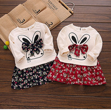 Wholesale autumn winter Korean Thicken baby girl dress cute Rabbit floral bow tie dresses