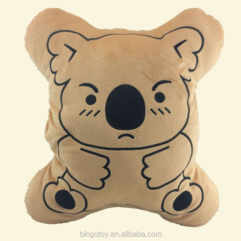 Most popular custom Emoji plush cartoon bear pillow for kids sleeping
