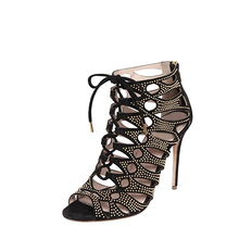 fashion grace black suede rhinestone peep toe ladies girls women high heel sandals shoes