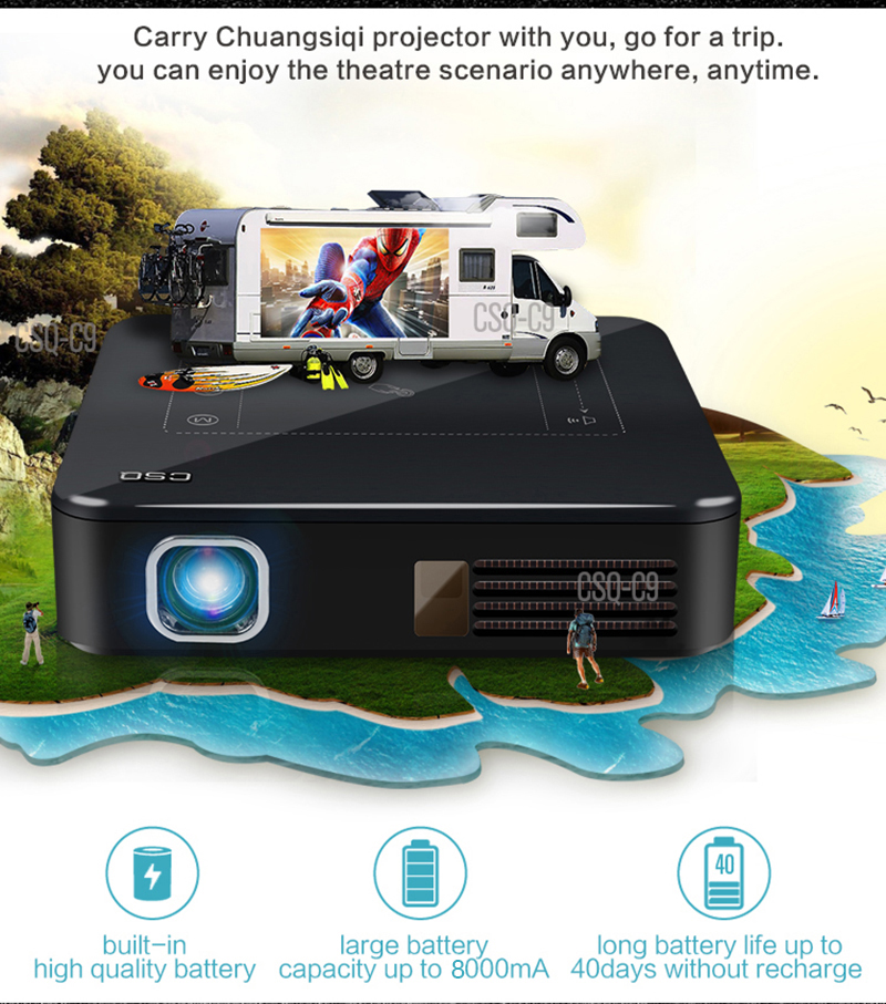 Salange C9 Android7.1 Mobile Projector With 4K 8000mAh battery 2GB RAM 16GB ROM Bluetooth Dual WiFi Pocket DLP Beamer