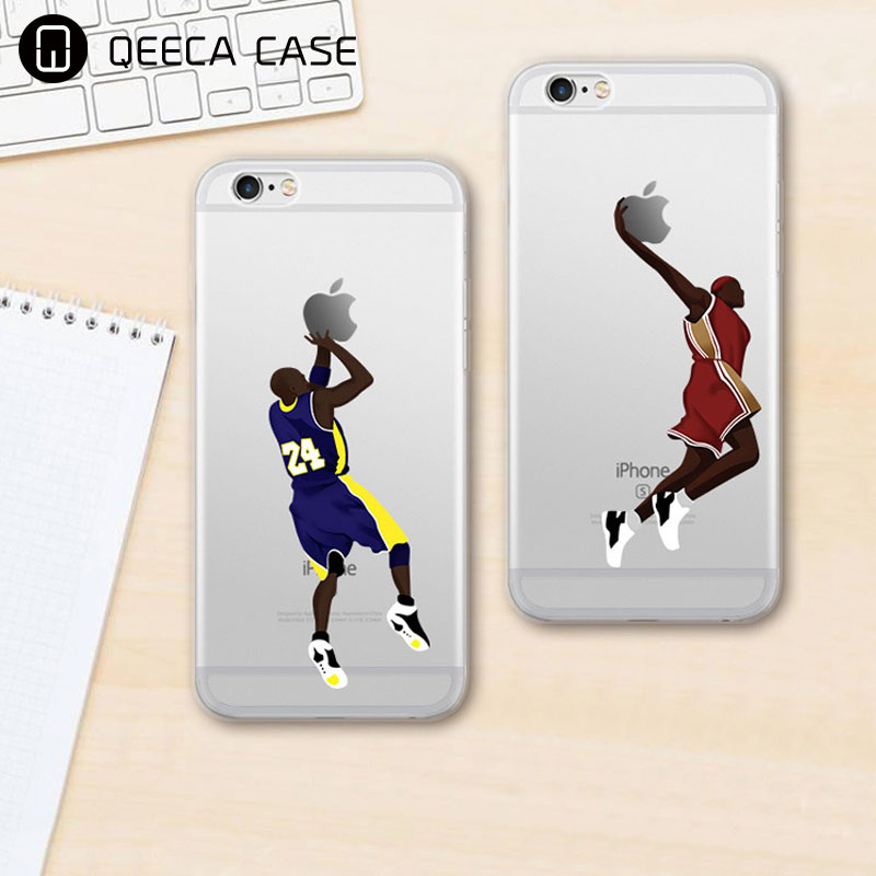 Custom made hard plastic / soft TPU transparent clear football team & basketball & soccer phone case for iphone 5 6 7 plus