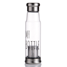 custom bpa free glass water tea bottle infuser/glass filter drink water bottle bpa free/Glass bottle with tea strainer