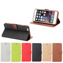 Grid Cross stitch design Leather phone Case For apple iphone 6s, belt clip wallet case for iphone 6s, phone accessories
