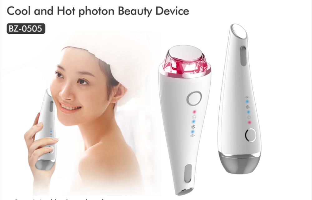 Newest multifunctional red blue light photon therapy beauty device hot cold hammer facial massager