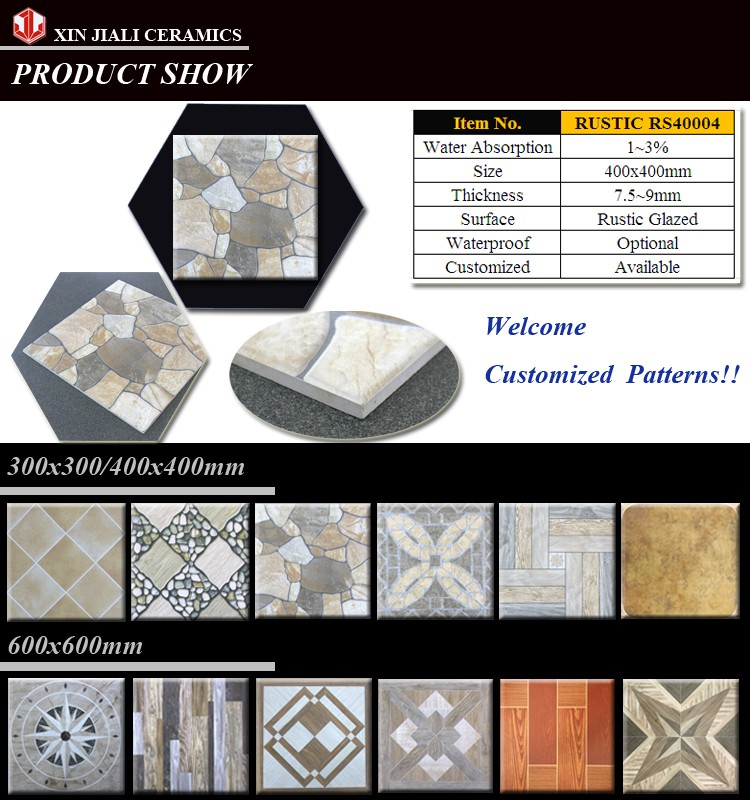 7.5~9.5mm Wholesale Manufacturer waterproof bathroom RS40004 400X400 RUSTIC FLOOR TILES